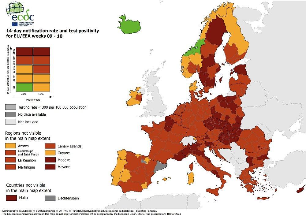 Χάρτες ECDC: Στο «κόκκινο» όλη η Ελλάδα